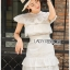 เดรสผ้าคอตตอนสีขาวปักและฉลุลายตกแต่งระบาย ตัวนี้เป็นแนวเฟมินีนหวานๆ ออกคุณหนูนิดๆ เนื้อผ้าทั้งตัวเป็นคอตตอนฉลุลายและปักเหมือนลายผ้าลูกไม้ ป้าย Lady Ribbon thumbnail 5