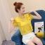 เสื้อแฟชั่นคอวี แต่งสายโช้คเก้อใส่ห่วงติดคอเสื้อดูเก๋ Korea stlye มีหลายสี thumbnail 1