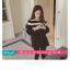 เสื้อยืดแฟชั่น คอกลม แขนยาวแต่งครึ่งบนลายริ้ว น่ารักสไตล์เกาหลี thumbnail 6