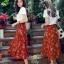 ชุดเซท สีส้มอิฐ เสื้อยืดปักลายกุหลาบ+ผ้าชีฟองเกาหลี ผ้าพิมพ์ลายดอกไม้ผ้ามีลายเส้นๆในตัว thumbnail 5