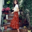 ชุดเซท สีส้มอิฐ เสื้อยืดปักลายกุหลาบ+ผ้าชีฟองเกาหลี ผ้าพิมพ์ลายดอกไม้ผ้ามีลายเส้นๆในตัว thumbnail 1