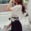 จั้มสูทกางเกงขาสั้น สีขาวดำ สไตล์เกาหลี ทรงสวยดูไฮด้วยดีเทลงานเย็บแต่งด้วยผ้าลูกไม้ thumbnail 4