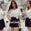 จั้มสูทกางเกงขาสั้น สีขาวดำ สไตล์เกาหลี ทรงสวยดูไฮด้วยดีเทลงานเย็บแต่งด้วยผ้าลูกไม้ thumbnail 1