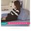 เสื้อยืดแฟชั่น คอกลม แขนยาวแต่งครึ่งบนลายริ้ว น่ารักสไตล์เกาหลี thumbnail 12