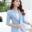 เสื้อสูทผู้หญิง สีฟ้าพาสเทล ใส่ทำงานไหล่ตุ๊กตาเข้ารูป สไตล์เรียบหรู thumbnail 4