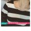เสื้อยืดแฟชั่น คอกลม แขนยาวแต่งครึ่งบนลายริ้ว น่ารักสไตล์เกาหลี thumbnail 2