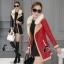 เสื้อคลุมแจ็คเก็ตหนัง สีส้ม สีดำ ดีเทคด้วยการดีไซร์ซิปรุดสุดเก๋ สไตล์เกาหลี ใส่แล้วดูเท่ห์ Premium Quality by Cliona thumbnail 2