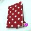 """ปกผ้าพื้นแดง Polka Dot เนื้อผ้าคอตต้อน ขนาด 8"""" ( Pocket Book ) thumbnail 1"""