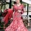 เดรสผ้าเครปพิมพ์ลายดอกไม้ตกแต่งเลเยอร์ ตัวนี้ที่คอเสื้อเป็นทรงคอวี ป้าย Lady Ribbon นะคะ thumbnail 3