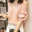 เสื้อแฟชั่น คอวี สีชมพูโอลโรส โชว์ไหล่แขนสั้นแต่งสายผูกเป็นโบว์น่ารัก thumbnail 1