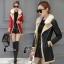 เสื้อคลุมแจ็คเก็ตหนัง สีส้ม สีดำ ดีเทคด้วยการดีไซร์ซิปรุดสุดเก๋ สไตล์เกาหลี ใส่แล้วดูเท่ห์ Premium Quality by Cliona thumbnail 1