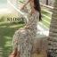 Maxi dress มี 3 สี ขาว ชมพู ดำ ลายดอกแขน 3 ส่วน ชายระบายเก๋ๆ thumbnail 3