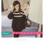 เสื้อยืดแฟชั่น คอกลม แขนยาวแต่งครึ่งบนลายริ้ว น่ารักสไตล์เกาหลี thumbnail 9