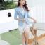 เสื้อสูทผู้หญิง สีฟ้าพาสเทล ใส่ทำงานไหล่ตุ๊กตาเข้ารูป สไตล์เรียบหรู thumbnail 5