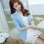 เสื้อสูทผู้หญิง สีฟ้าพาสเทล ใส่ทำงานไหล่ตุ๊กตาเข้ารูป สไตล์เรียบหรู thumbnail 1