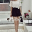 จั้มสูทกางเกงขาสั้น สีขาวดำ สไตล์เกาหลี ทรงสวยดูไฮด้วยดีเทลงานเย็บแต่งด้วยผ้าลูกไม้ thumbnail 5