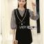 เดรสผ้าลายสก็อตทับผ้าเครปดำตกแต่งสร้อยริบบิ้น ตัวนี้เป็นเหมือนเดรสใส่ทับเสื้อ ตัวเสื้อด้านในเป็นผ้าคอตตอนลายสก็อต ป้าย Lady Ribbon thumbnail 3