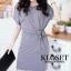 Mini dress คอกลม แขนสั้น สีดำ สีเทา เย็บต่อเชือกผุกเอว สำเนา thumbnail 8
