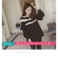 เสื้อยืดแฟชั่น คอกลม แขนยาวแต่งครึ่งบนลายริ้ว น่ารักสไตล์เกาหลี thumbnail 14