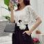 จั้มสูทกางเกงขาสั้น สีขาวดำ สไตล์เกาหลี ทรงสวยดูไฮด้วยดีเทลงานเย็บแต่งด้วยผ้าลูกไม้ thumbnail 3