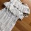 เดรสผ้าคอตตอนสีขาวปักและฉลุลายตกแต่งระบาย ตัวนี้เป็นแนวเฟมินีนหวานๆ ออกคุณหนูนิดๆ เนื้อผ้าทั้งตัวเป็นคอตตอนฉลุลายและปักเหมือนลายผ้าลูกไม้ ป้าย Lady Ribbon thumbnail 8