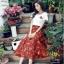 ชุดเซท สีส้มอิฐ เสื้อยืดปักลายกุหลาบ+ผ้าชีฟองเกาหลี ผ้าพิมพ์ลายดอกไม้ผ้ามีลายเส้นๆในตัว thumbnail 4