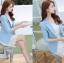 เสื้อสูทผู้หญิง สีฟ้าพาสเทล ใส่ทำงานไหล่ตุ๊กตาเข้ารูป สไตล์เรียบหรู thumbnail 3