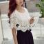 จั้มสูทกางเกงขาสั้น สีขาวดำ สไตล์เกาหลี ทรงสวยดูไฮด้วยดีเทลงานเย็บแต่งด้วยผ้าลูกไม้ thumbnail 6