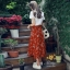 ชุดเซท สีส้มอิฐ เสื้อยืดปักลายกุหลาบ+ผ้าชีฟองเกาหลี ผ้าพิมพ์ลายดอกไม้ผ้ามีลายเส้นๆในตัว thumbnail 2