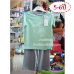[5-6ปี] [สี่เขียว] [เซต2ชิ้น] Lilsoft baby ชุดเสื้อแขนสั้น+กางเกงขาสั้นลายอวกาศ 100%Cotton