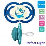 [ปลาวาฬ-น้ำเงิน][6เดือนขึ้นไป] จุกนมหลอก MAM รุ่น Perfect Night ป้องกันฟันหน้ายื่น