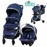 [สีน้ำเงิน] Fico รถเข็นเด็ก+กระเช้าคาร์ซีท รุ่น California 4in1 [แรกเกิด-3ปี]