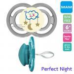 [ก้อนเมฆ-เทา][6เดือนขึ้นไป] จุกนมหลอก MAM รุ่น Perfect Night ป้องกันฟันหน้ายื่น