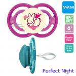 [กระต่าย-ชมพู][6เดือนขึ้นไป] จุกนมหลอก MAM รุ่น Perfect Night ป้องกันฟันหน้ายื่น