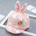[สีชมพู] หมวกแก๊ปเด็กลายกระต่ายหูตั้งแครอท