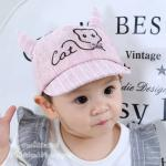 [สีชมพู] หมวกแก๊ปเด็ก Cat มีเขา