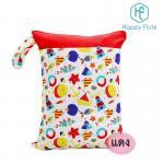 [สีแดง] Happy Flute กระเป๋าใส่ผ้าเปียก/กางเกงผ้าอ้อม ขนาด30x40ซม.