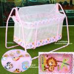 [ชมพู] เปลไกวเด็ก Baby Cradle รุ่น C023 ลายหัวสัตว์