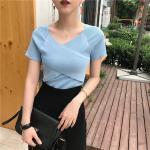 เสื้อไหมพรมผสม สีฟ้า แต่งผ้าไขว้ด้านหน้าสวยหวานสไตล์เกาหลี