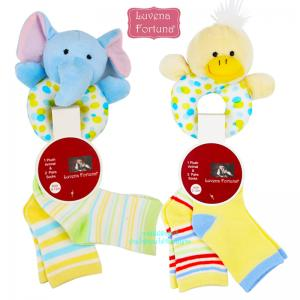 เซตถุงเท้าพร้อมตุ๊กตาเขย่าลายสัตว์ Luvena Fortuna