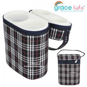กระเป๋าโฟมเก็บอุณหภูมิร้อน-เย็นลายสก๊อต แบบถ้วยพลาสติก Grace kids