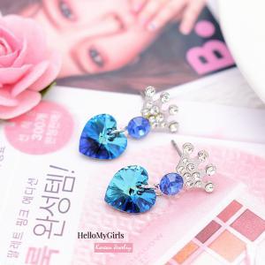 ต่างหูเกาหลี ต่างหูแฟชั่น ต่างหูตุ้งติ้งคริสตัลหัวใจและมงกุฎสีน้ำเงิน