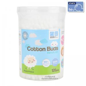 สำลีก้านจิ๋วรุ่นกระปุก 120 ก้าน PAPA Cotton Buds