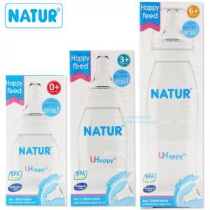Natur ขวดนม UHappy พร้อมจุกเสมือนดูดจากอกมารดา คอแคบ