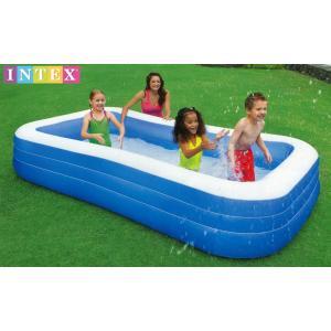 สระน้ำเป่าลมทรงยาว 3 ชั้น สีฟ้า [Intex-58484]