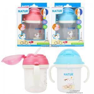 ถ้วยหัดดื่มพร้อมหลอดซิลิโคนลายหนู Natur Straw Training Cup [Designed in France]