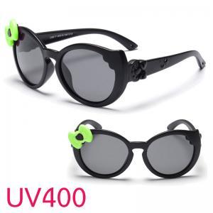 แว่นตาเด็กกันแดดซิลิโคนสีดำโบว์เขียว