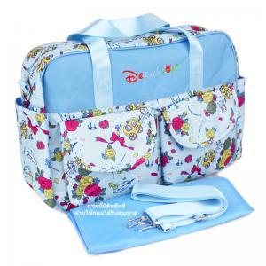 กระเป๋าสัมภาระคุณแม่สีฟ้าลายดอกไม้ สไตล์เกาหลี ขนาดใหญ่