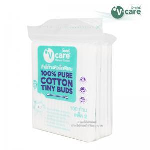 [แพคคู่] สำลีก้านหัวเล็กพิเศษ 100 ก้าน V-care Natural Cotton