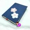 """ปกผ้ายีนส์ ประดับดอกไม้ เนื้อผ้าคอตต้อน ขนาด 8"""" ( Pocket Book )"""